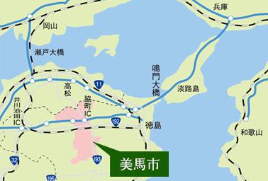 美馬市地図